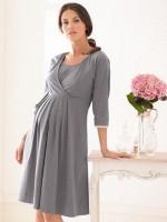 chemise de nuit de grossesse et d 39 allaitement maelenn gris. Black Bedroom Furniture Sets. Home Design Ideas